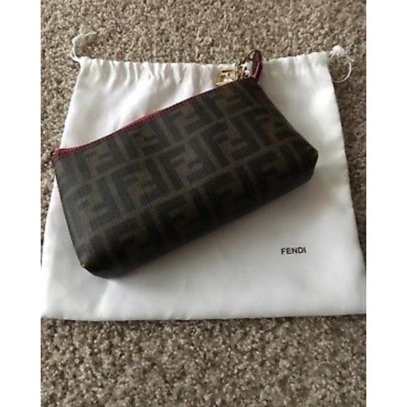 01c80629fdb1 Fendi Handbags - Fendi Zucca Pochette Chain Clutch Bag